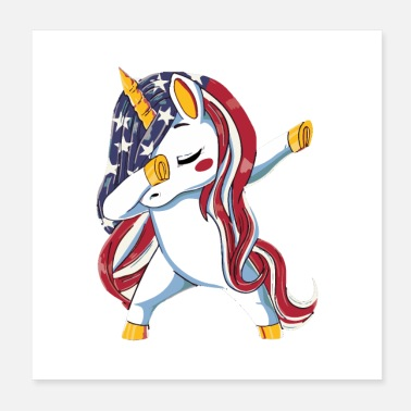 patriotic dabbing unicorn usa flag - Poster