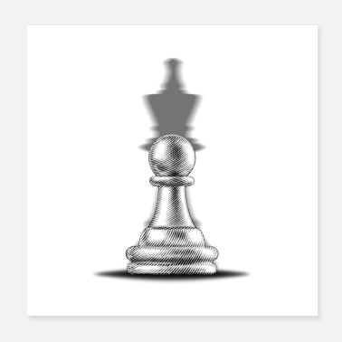Red Pawn with a king shadow - Poster