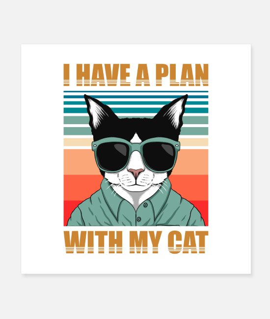Catcher Posters - cat retro_I HAVE A PLANE WITH MY CAT T-SHIRT - Posters white