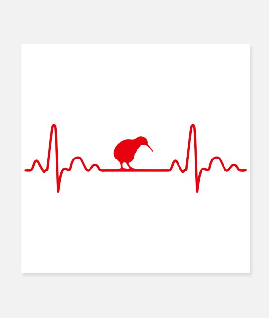 New Zealand Posters - Heartbeat Kiwi Bird New Zealand Funny Gift Idea - Posters white