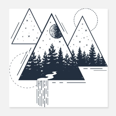 Bohemian Modern Geometric Nature Forest Bohemian Triangles - Poster