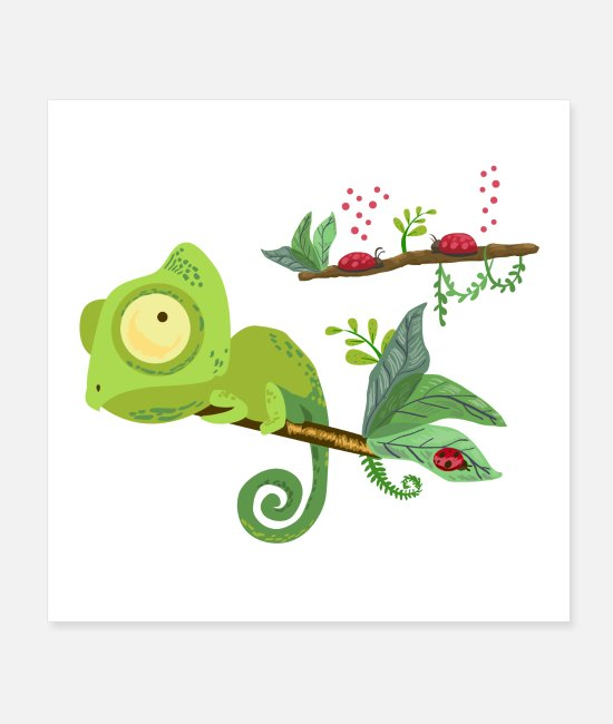 Reptile Posters - Chameleon and ladybug - Posters white
