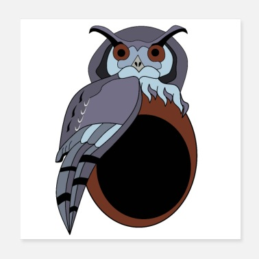 Eyebrows Grumpy Scop Owl Grandpa Cartoon - Poster