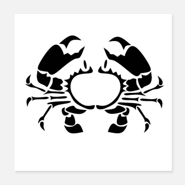 Stencil Stencil Crab Silhouette Customised Monogram - Poster