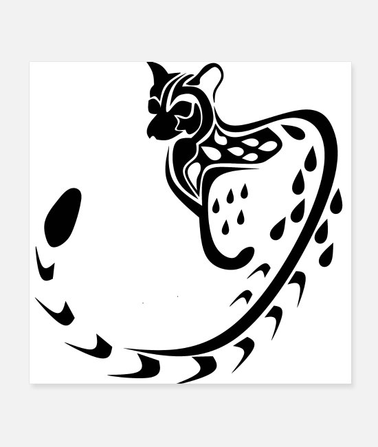 Drawing Posters - Tribal Large Spotted Genet Silhouette, Black Ink - Posters white
