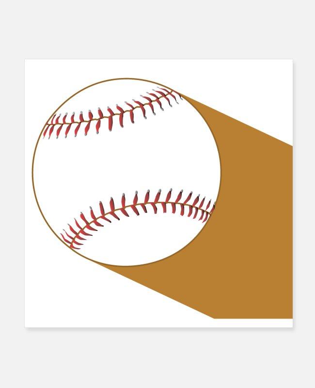Brown Posters - Baseball On White With Brown Clay Shadow - Posters white