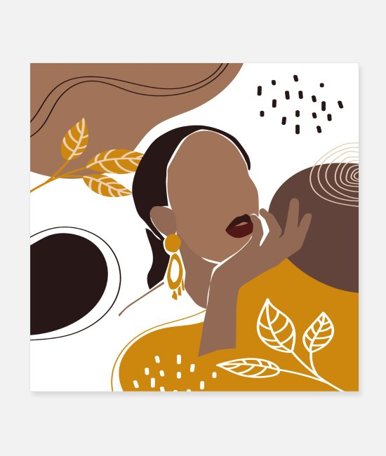 Native Posters - African American Art, Leaf Girl Print - Posters white
