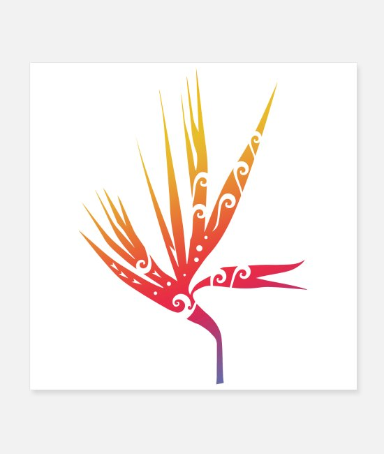 Nature Posters - Strelitzia Bird Of Paradise Flower Maori Tattoo - Posters white