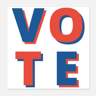 Democracy United States Red and Blue Vote Emblem - Poster