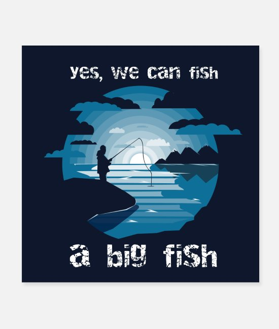 Fishing Fish Posters - negative space fisherman - Posters white