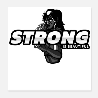 Beautiful Woman Strong Is Beautiful Fighter Woman Graphic - Poster