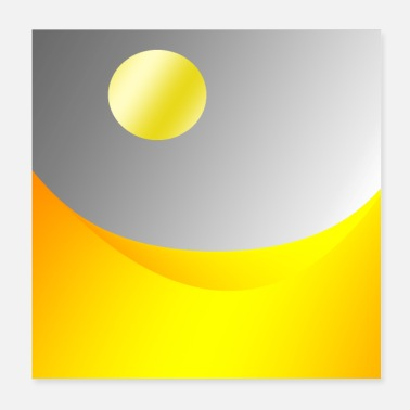 Abstract Sun Golden Landscape Abstract Art - Poster