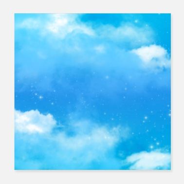 Dreamy Magical Fantasy Blue Sky Clouds Dreamy Stardust - Poster