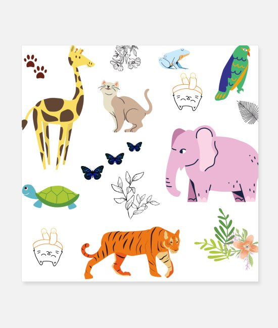 Animal Welfare Posters - Cute Animal Nursery | Baby Shower idea - Posters white