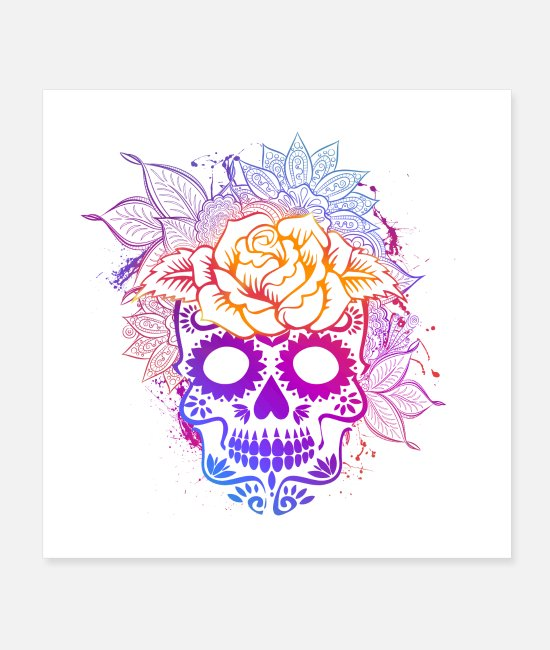 Mexican Posters - Colorful Sugar Skull Floral Roses and Leaf - Posters white
