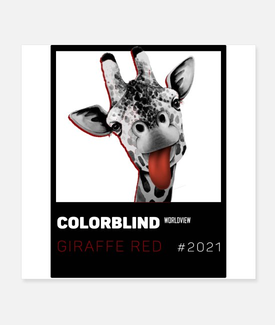 Pop Posters - GIRAFFE RED - black card - by COLORBLIND WView - Posters white