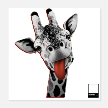 Schwarz GIRAFFE RED - full black by COLORBLIND WorldView - Poster