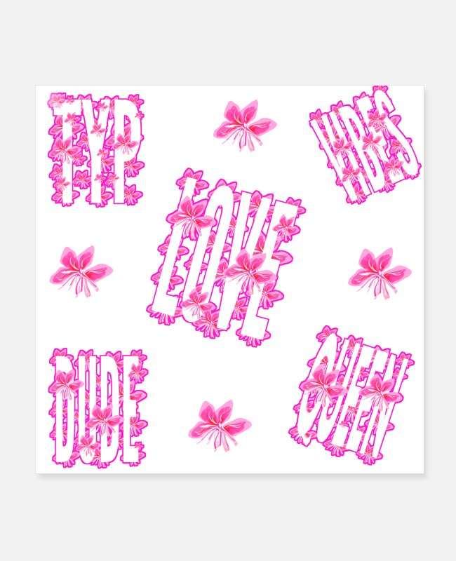 Pink Posters - Super Typ vibes is good with this flower style - Posters white