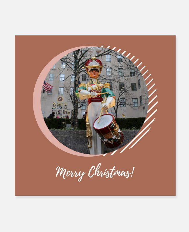 New York Posters - Merry Christmas NYC Rockefeller Plaza Drummer Boy - Posters white