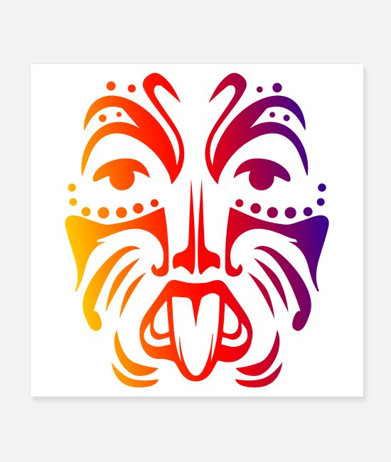 New Zealand Posters - Maori Warrior Face Polynesian Tribal Tattoo Gift - Posters white