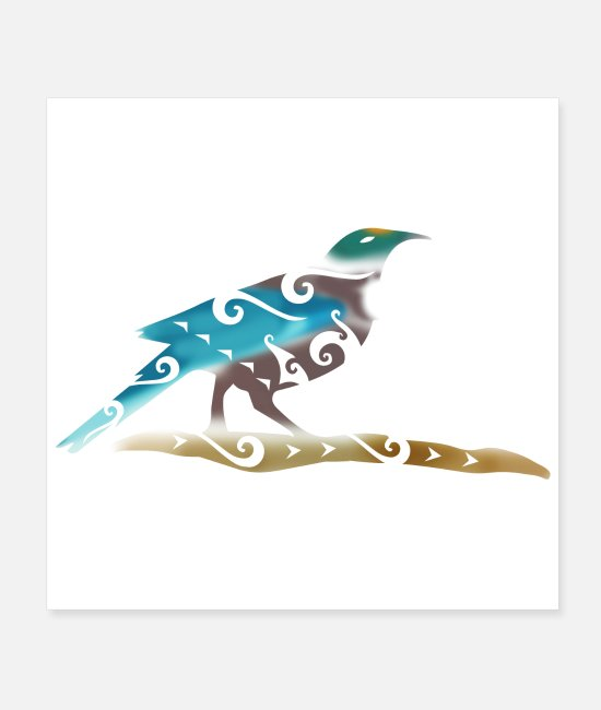 New Zealand Posters - Maori Tui Bird Polynesian Tribal Tattoo Gift Idea - Posters white