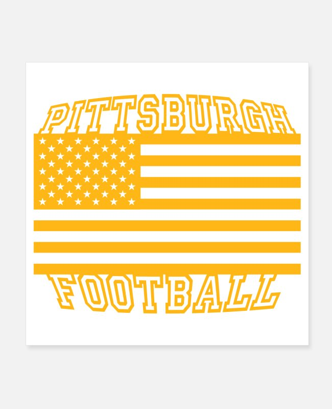 Geraud Posters - Pittsburgh Football American Flag - Posters white