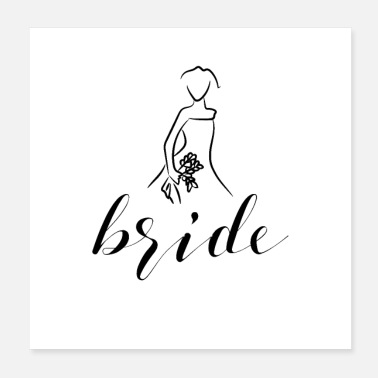 Bride Logo flower bouquet wedding dress - Poster