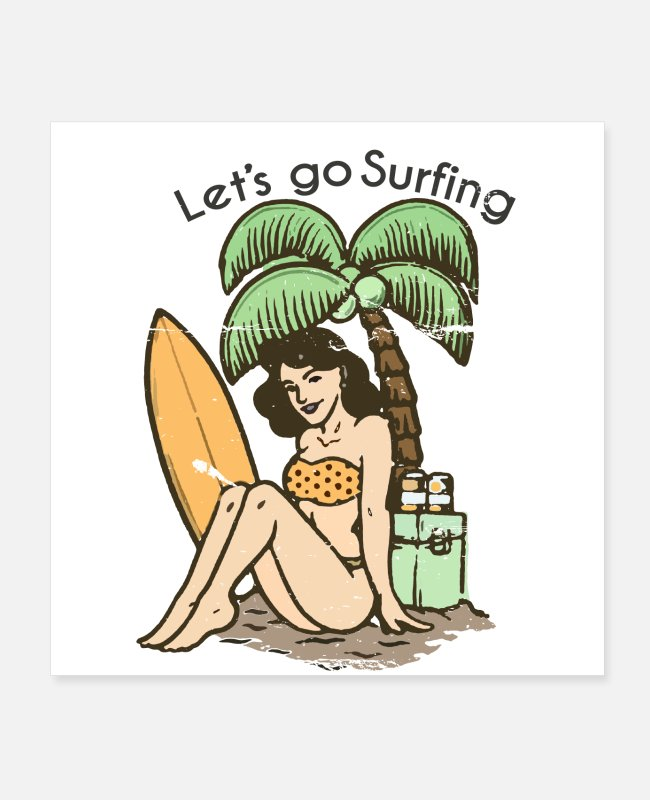 Wave Posters - Retro style lets go surfing - Posters white