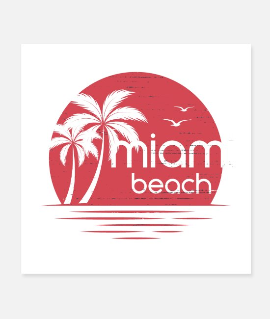 South Beach Posters - miami beach palm trees - Posters white