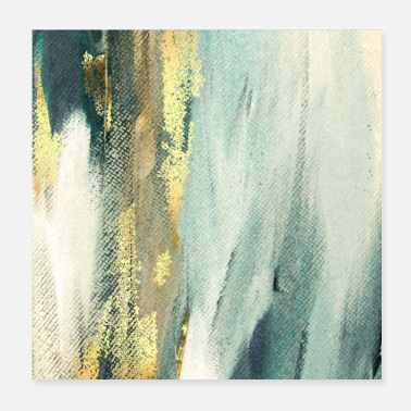 Paint Brush Blue Paint Gold Brushstrokes Abstract Texture - Poster