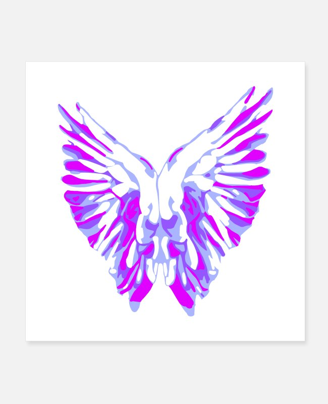 Heavenly Beings Posters - Purple Angel Wings - Posters white