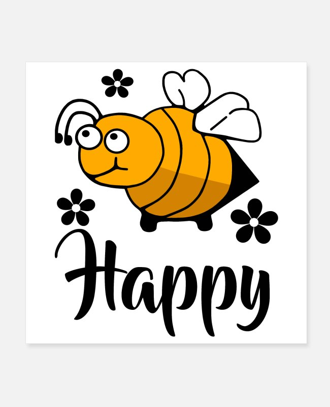 Inspiration Posters - Bee Happy - Posters white