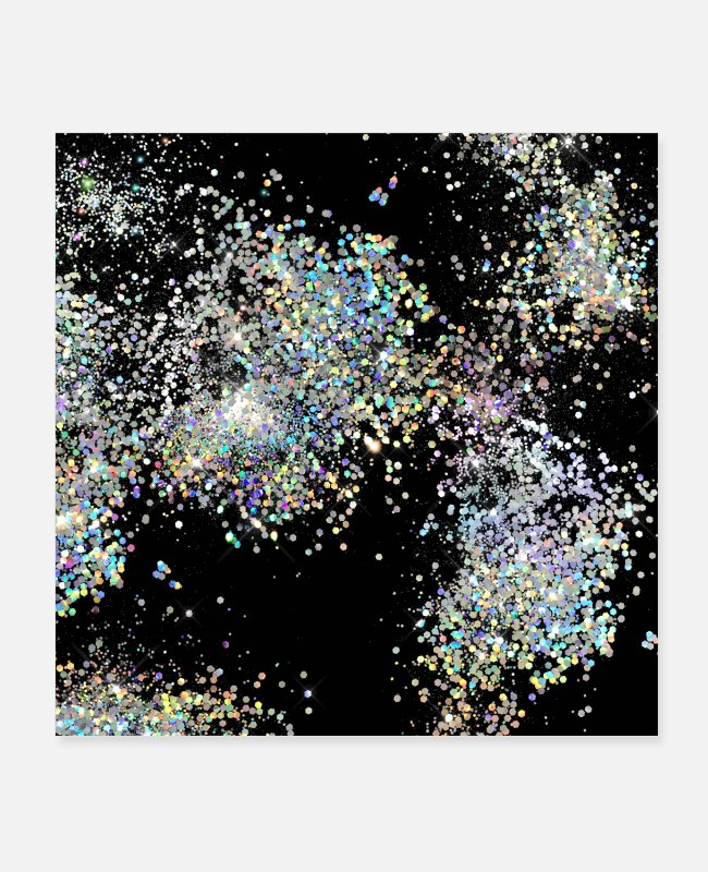 Festival Posters - Black Holographic Glitter Pretty Luxurious - Posters white