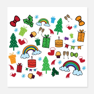 Theme Christmas theme pattern - colorful festival - Poster