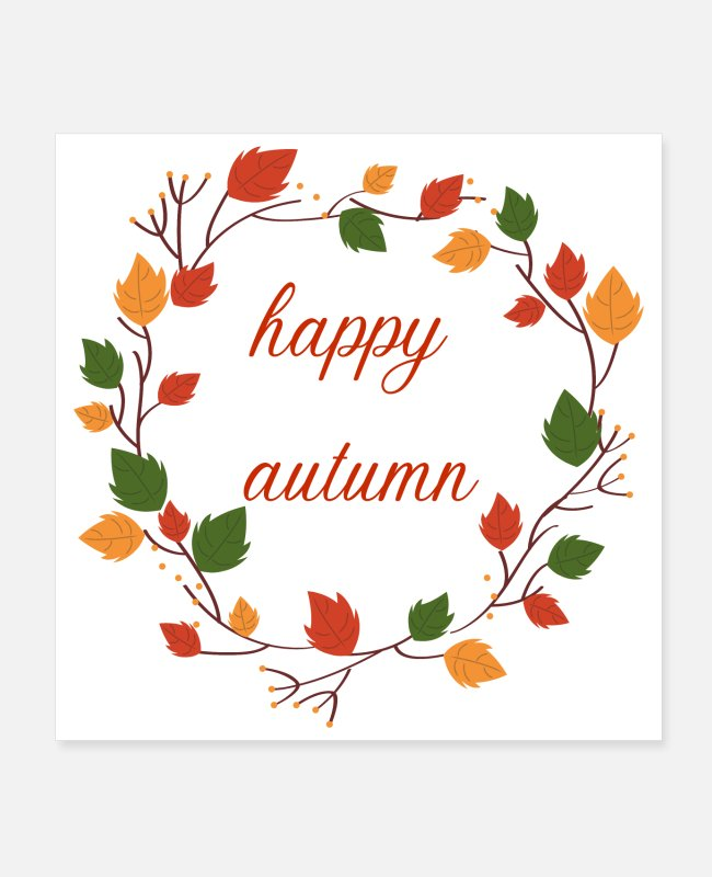 Leaves Posters - Happy Autumn (red) - Posters white