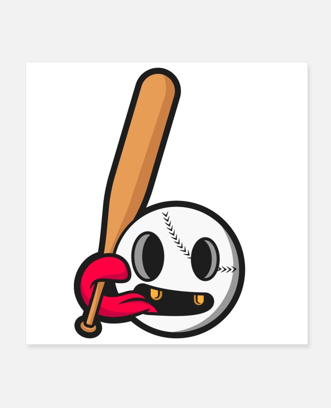 Design Posters - baseball cartoon illustration - Posters white