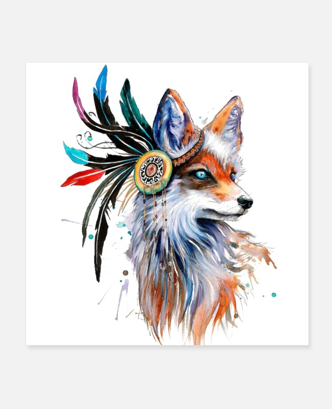 Full Moon Posters - Colorful wolves - Posters white
