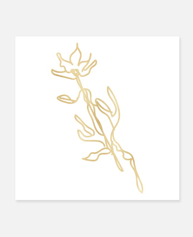 Flower Line Art Posters - bloom flower gold - Posters white