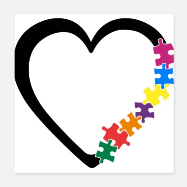 Piece Autism Awareness Heart Colorful Puzzle Pieces - Poster