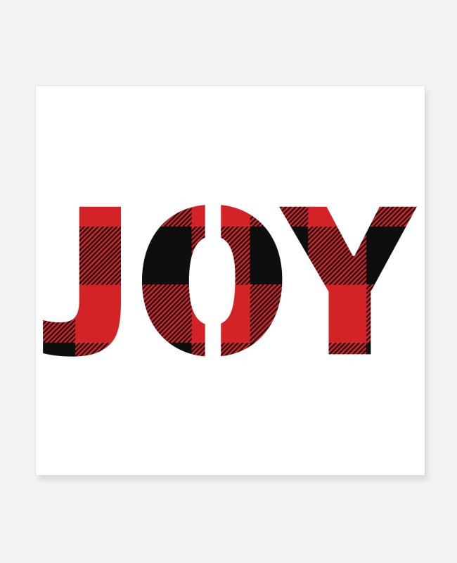Christmas Joy Posters - JOY - Buffalo Plaid - Posters white
