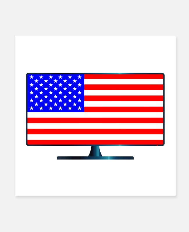 Drawing Posters - Stars And Stripes TV - Posters white