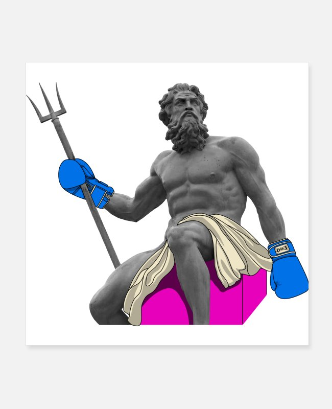 Fighter Posters - Ego-ancient Poseidon Boxer (Blue) - Posters white