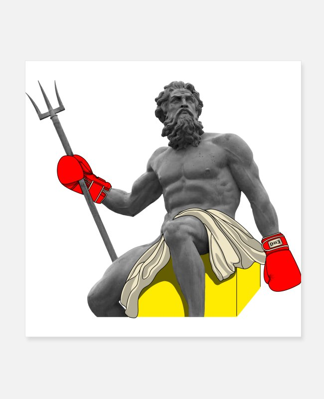 Boxing Match Posters - Ego-ancient Poseidon Boxer (Red) - Posters white