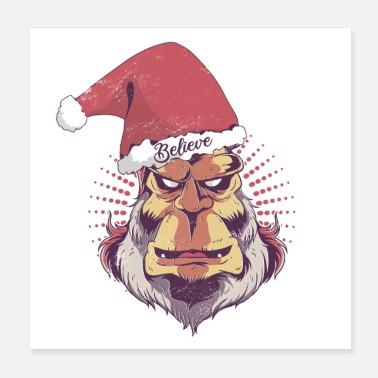 Bigfoot Christmas Believe In Christmas Funny Bigfoot Sasquat Smiling - Poster