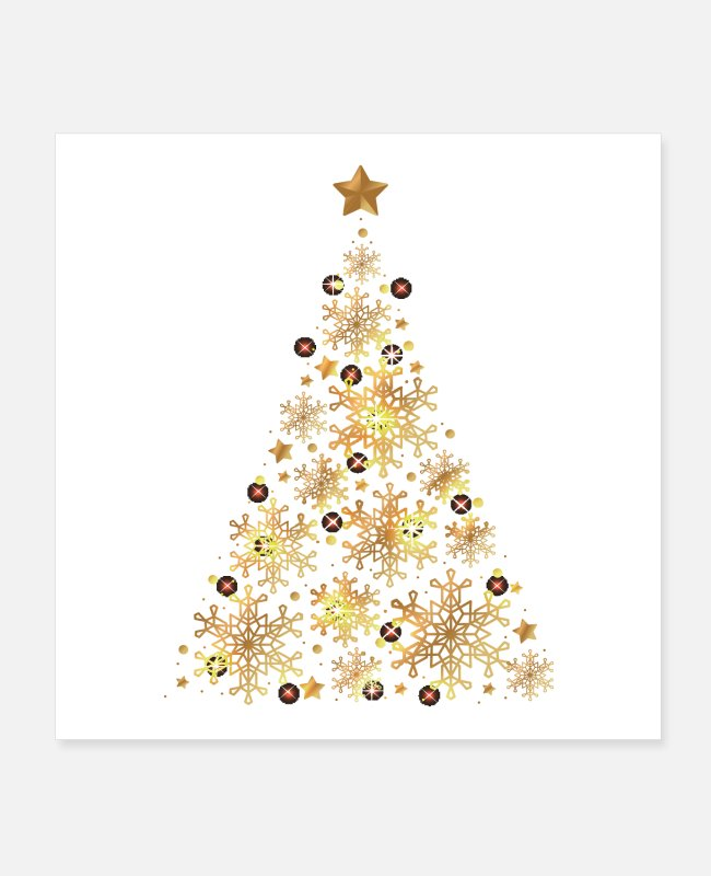 Christmas Posters - Golden Chrismas Tree spreadshirtbest selling t shi - Posters white