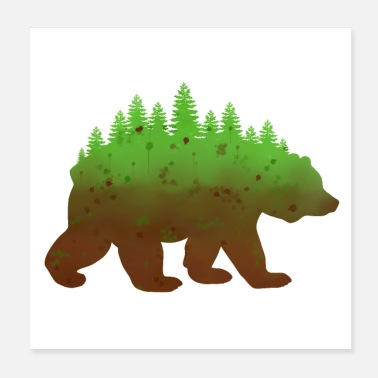 Grizzly Bears Grizzly Bear Nature Forest Watercolor Outdoors - Poster