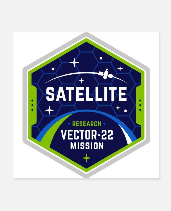 Space Posters - Satellite vector-22 mission - Posters white