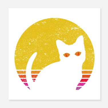 Eighties Retro Cat Sunset | Retro style Vintage Cute Kitty - Poster