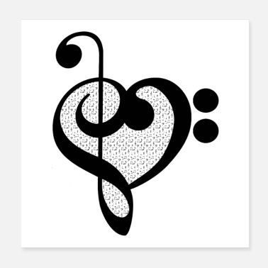 Note Musician Music Note Heart - Musical Pattern - Poster