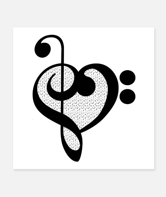 Choir Posters - Music Note Pattern Heart Gift - for Musicians - Posters white